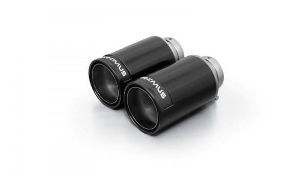 Endrohr-Set li/re je 2 Endrohre DM 98mm Street Race Black Chrome, mit einstellbarem Kugelanschluss