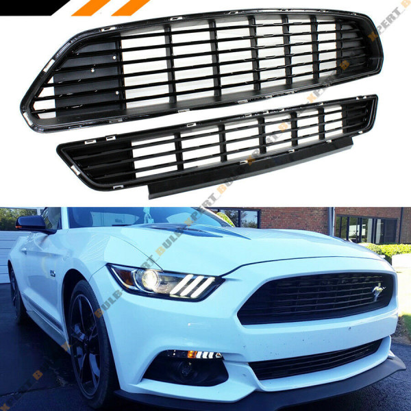 Ford Mustang Blk California Edition Front Bumper Upper + Lower Grill