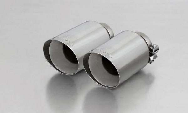 Endrohr-Set li/re je 2 Endrohre DM 102mm schräg, straight cut, verchromt, mit einstellbarem Kugelans
