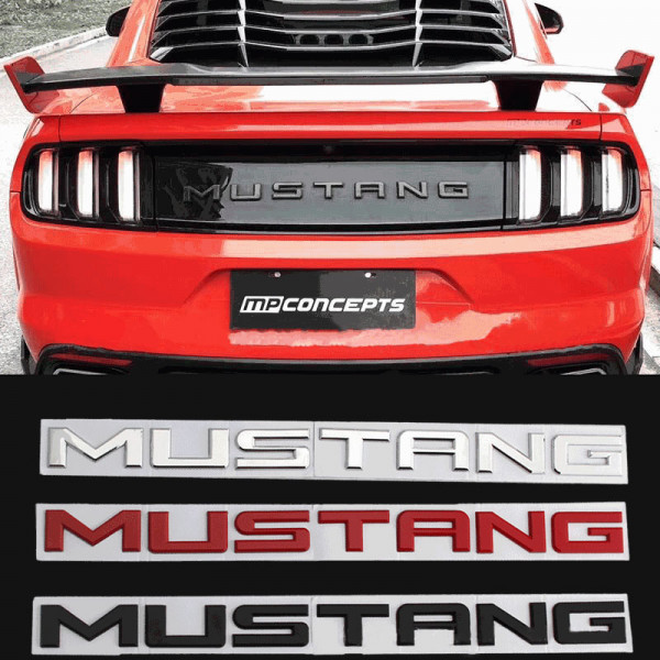 Ford Mustang Klebeschriftzug Schwarz / Rot / Chrom