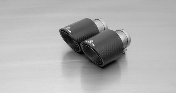 Endrohr-Set li/re je 2 Carbon-Endrohre DM 102 mm schräg, Innenaufbau Titan, mit einstellbarem Kugela
